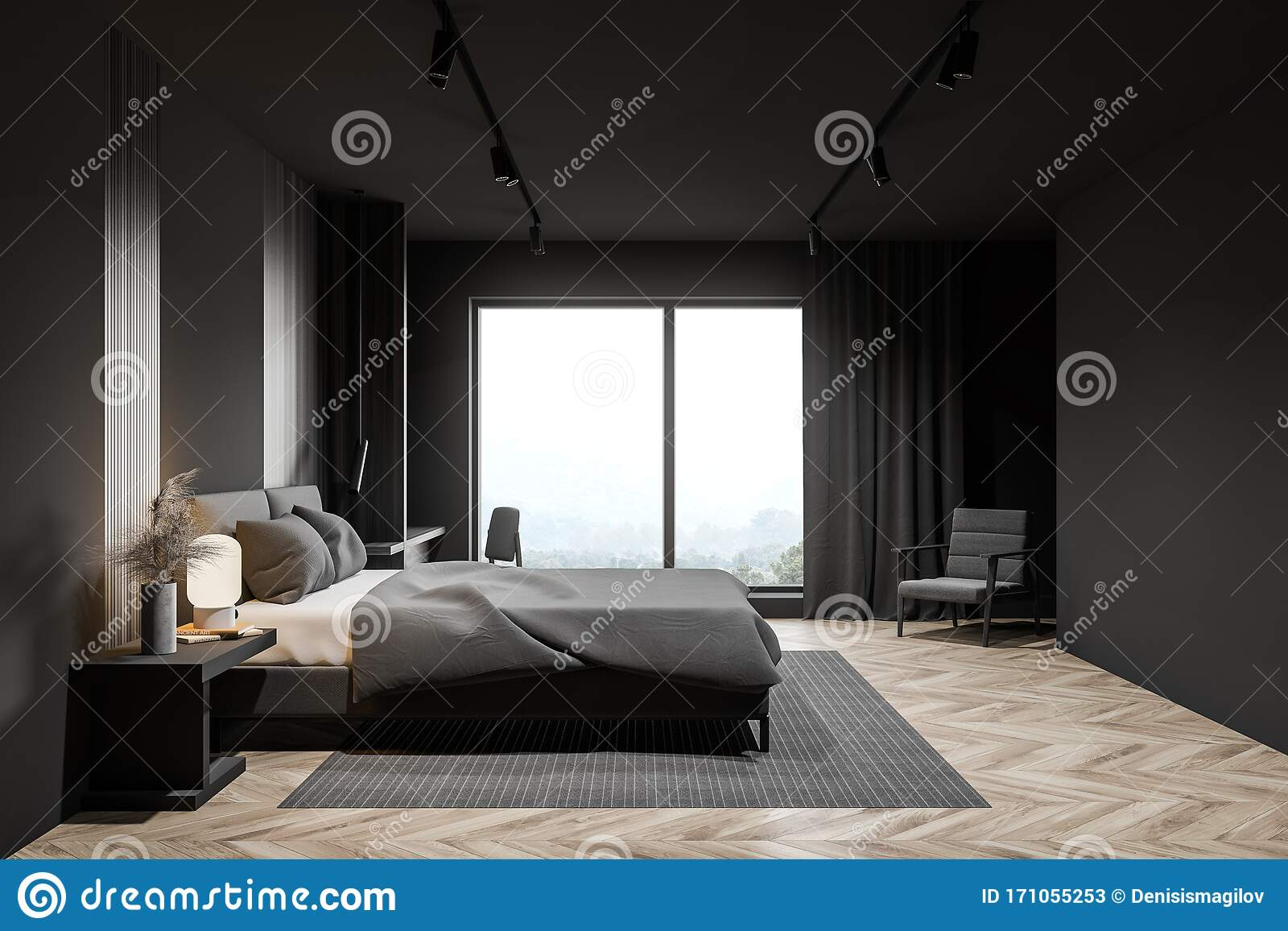 Gray Master Bedroom With Armchair Side View Stock Illustration Illustration Of Luxury Carpet 171055253