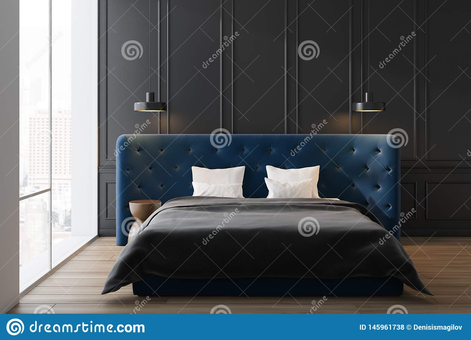Gray Master Bedroom With Blue Bed Stock Illustration Illustration Of Bedroom Indoor 145961738