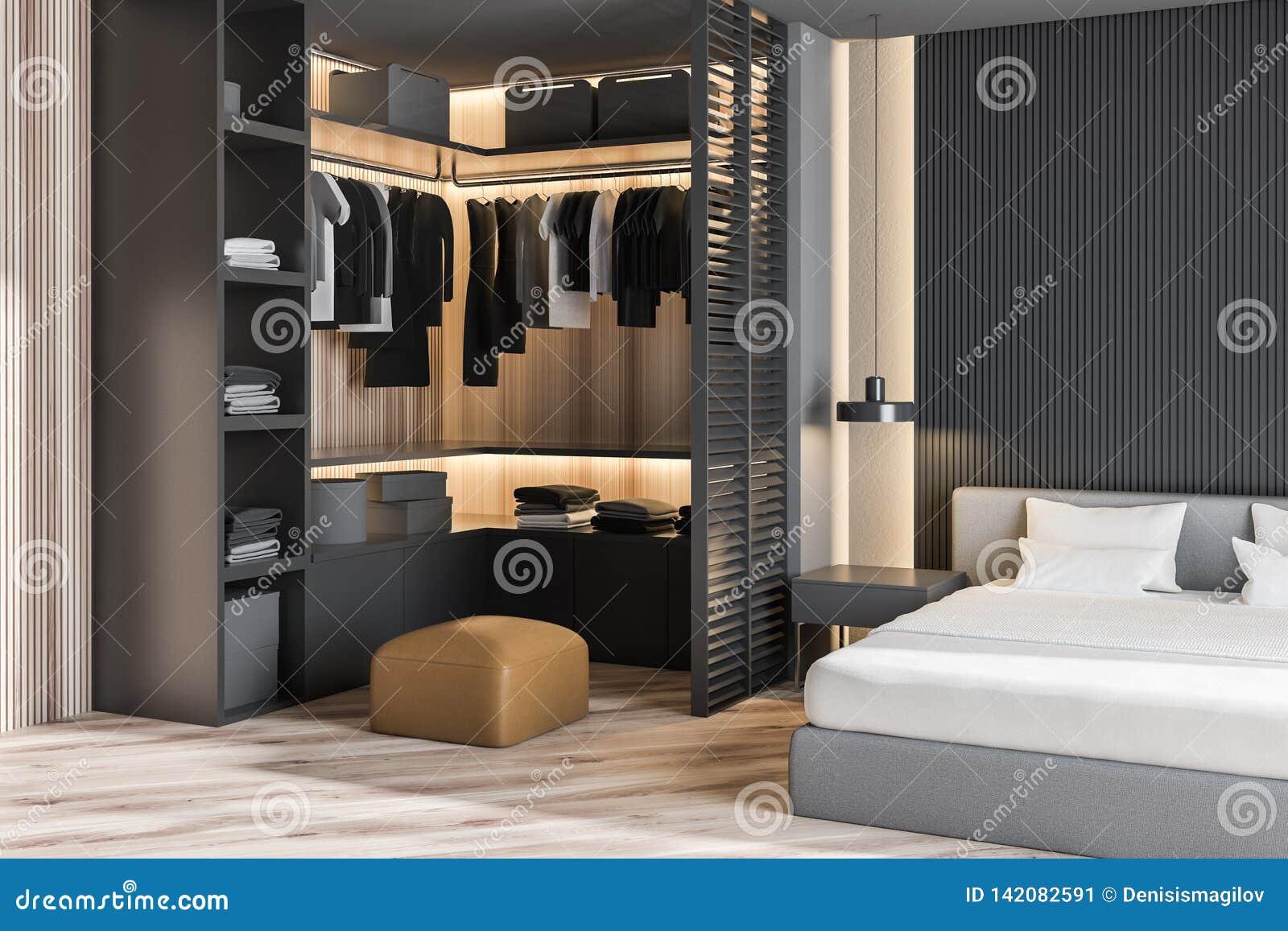 Gray Master Bedroom Corner With Wardrobe Stock Illustration ...