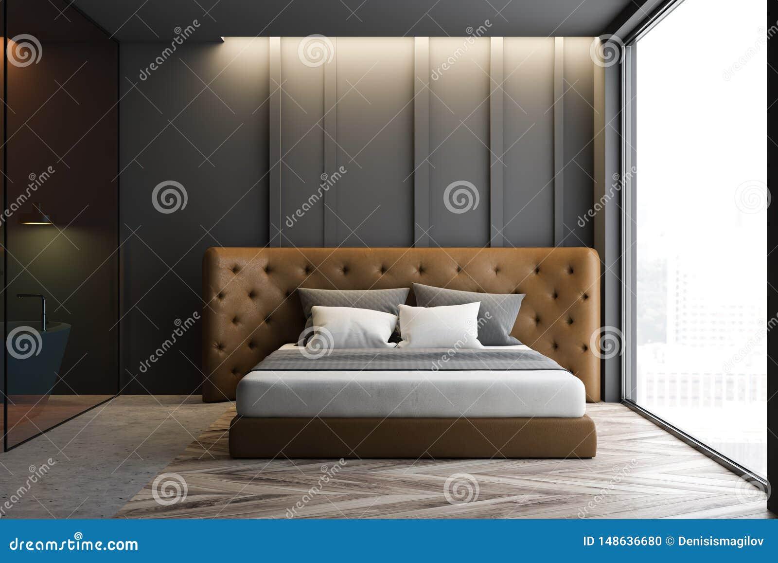 Gray Master Bedroom Interior With Bathroom Stock Illustration Illustration Of Minimal Master 148636680