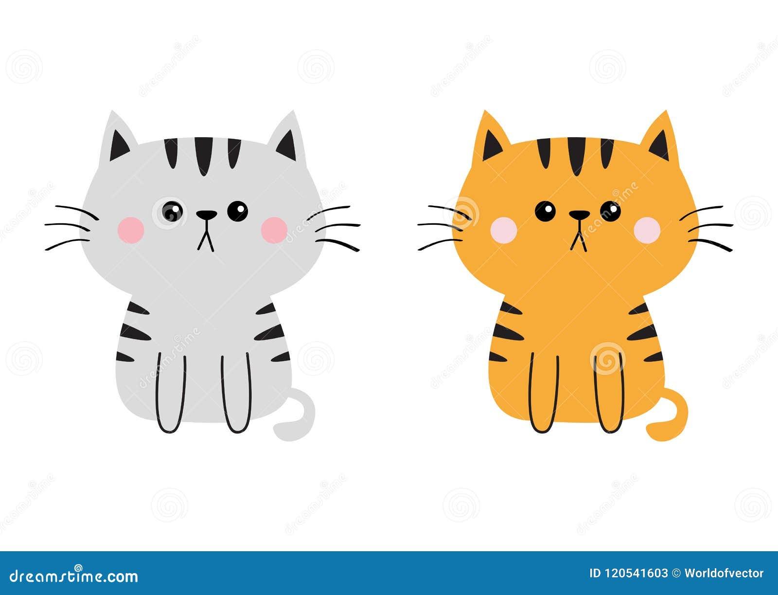 Image of: White Gray Orange Cat Sad Head Face Silhouette Set Cute Cartoon Sitting Kitty Character Kawaii Dreamstimecom Gray Orange Cat Sad Head Face Silhouette Set Cute Cartoon Sitting