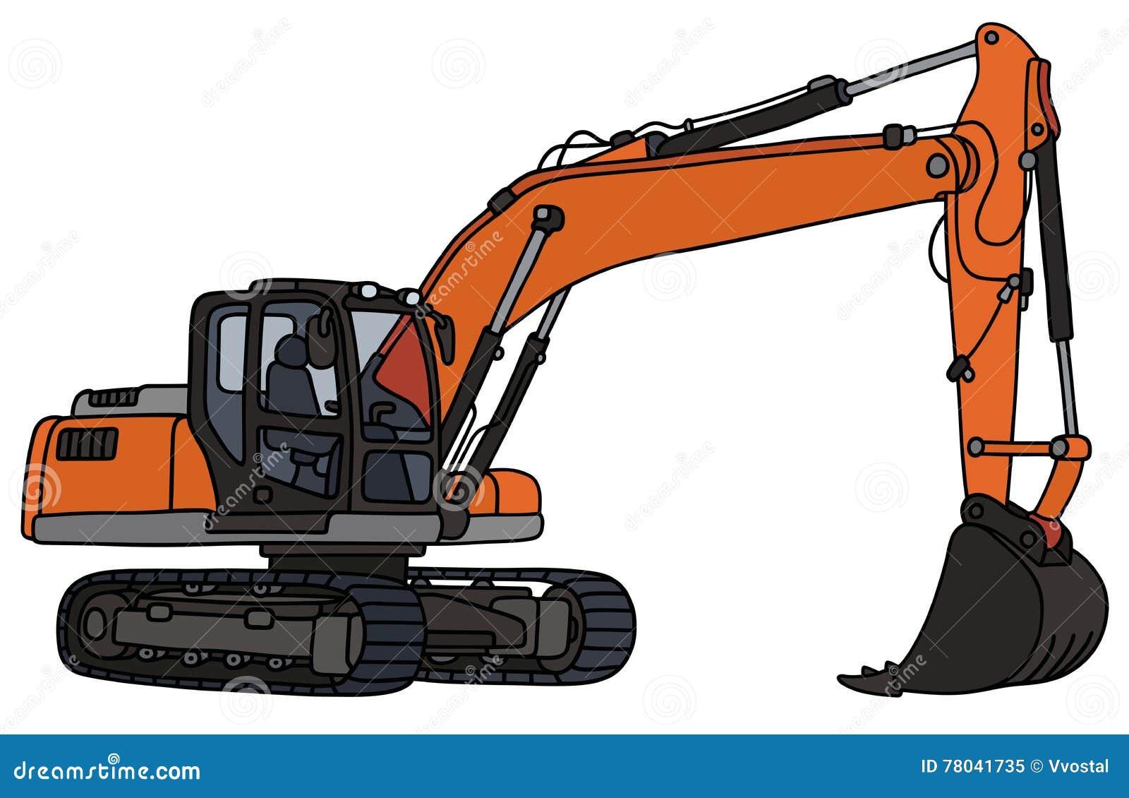 Gray and orange excavator