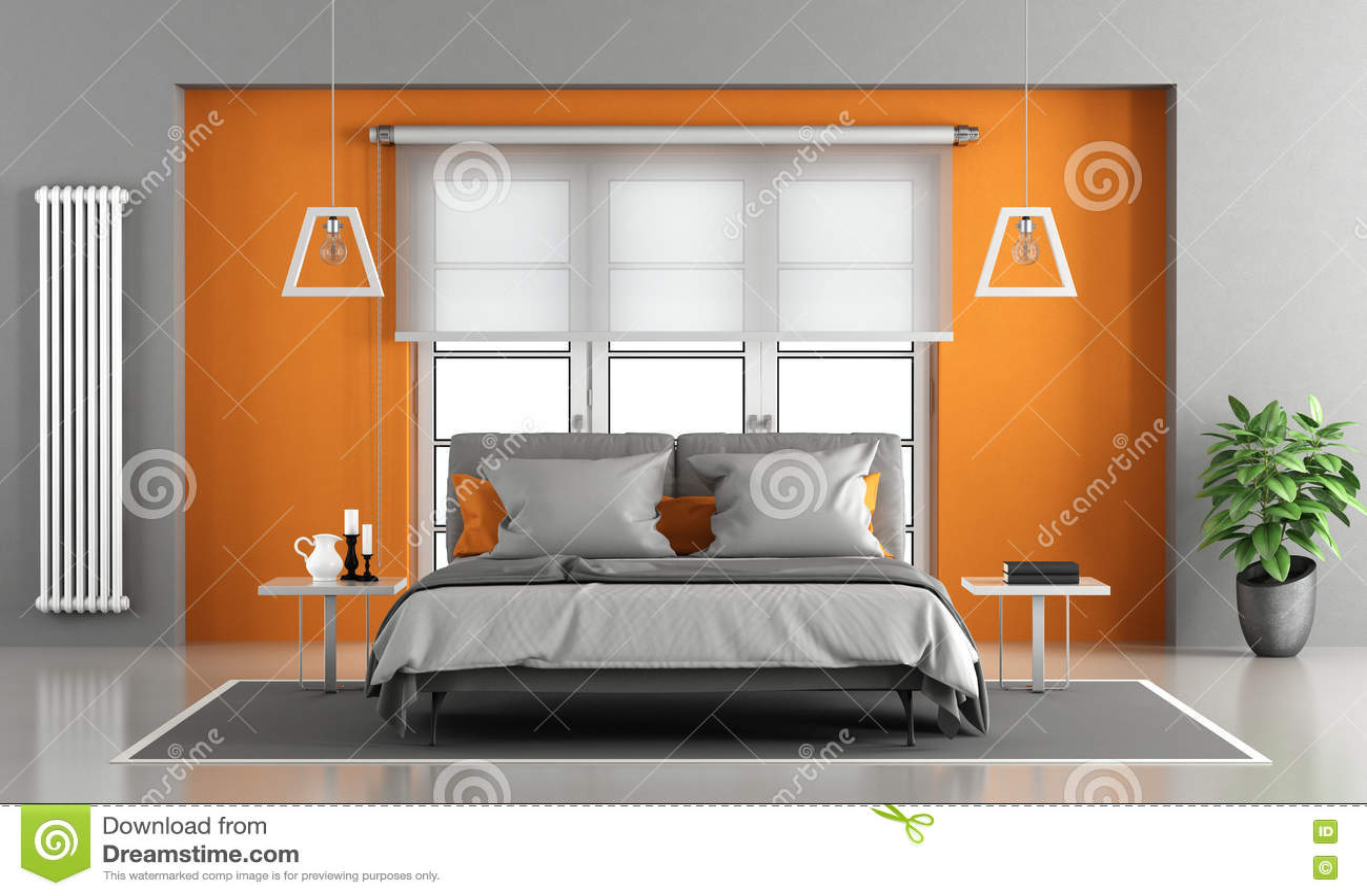 Gray And Orange Master Bedroom Stock Illustration ...