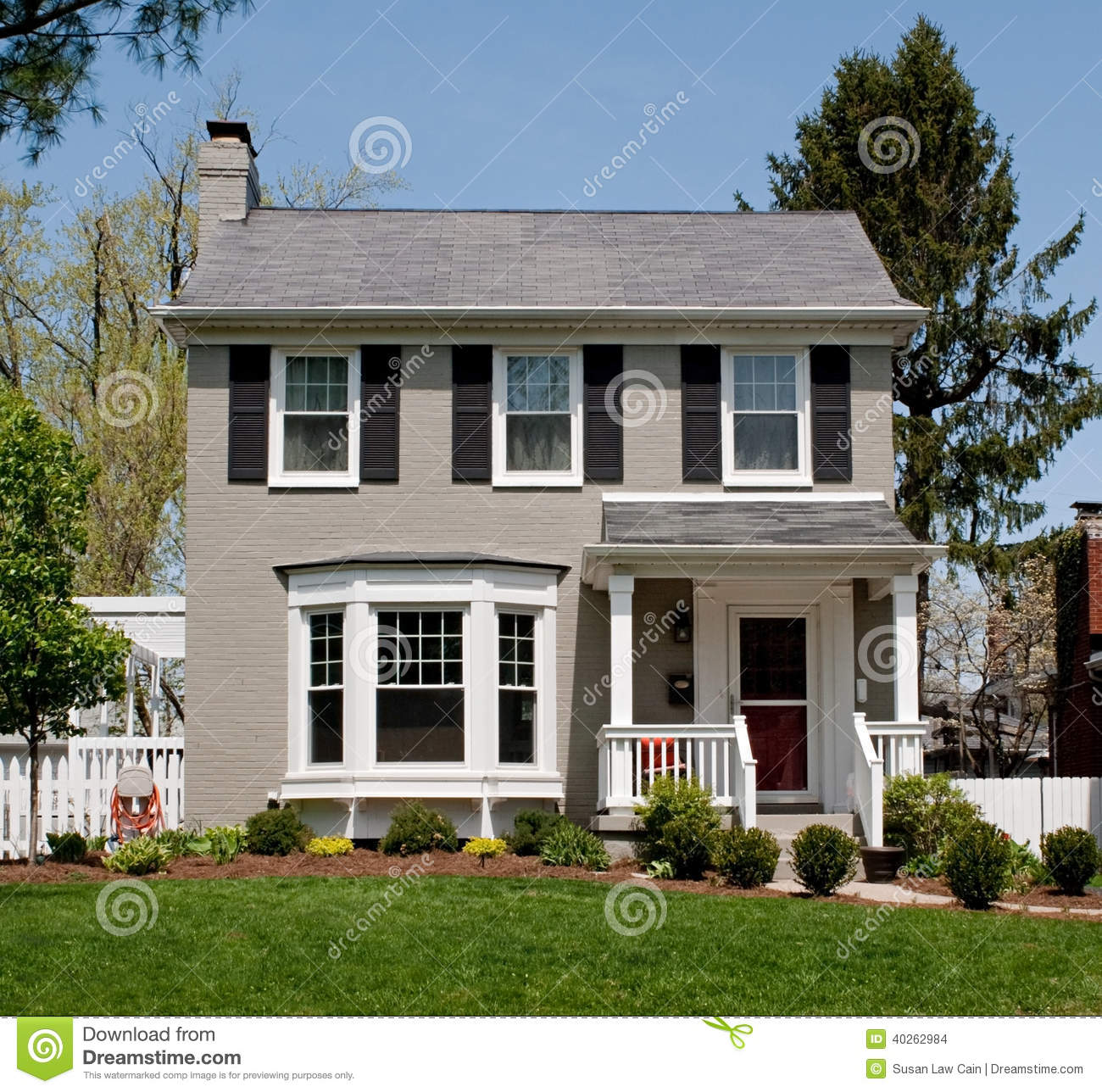 Gray Painted Brick House Stock Photo Image Of