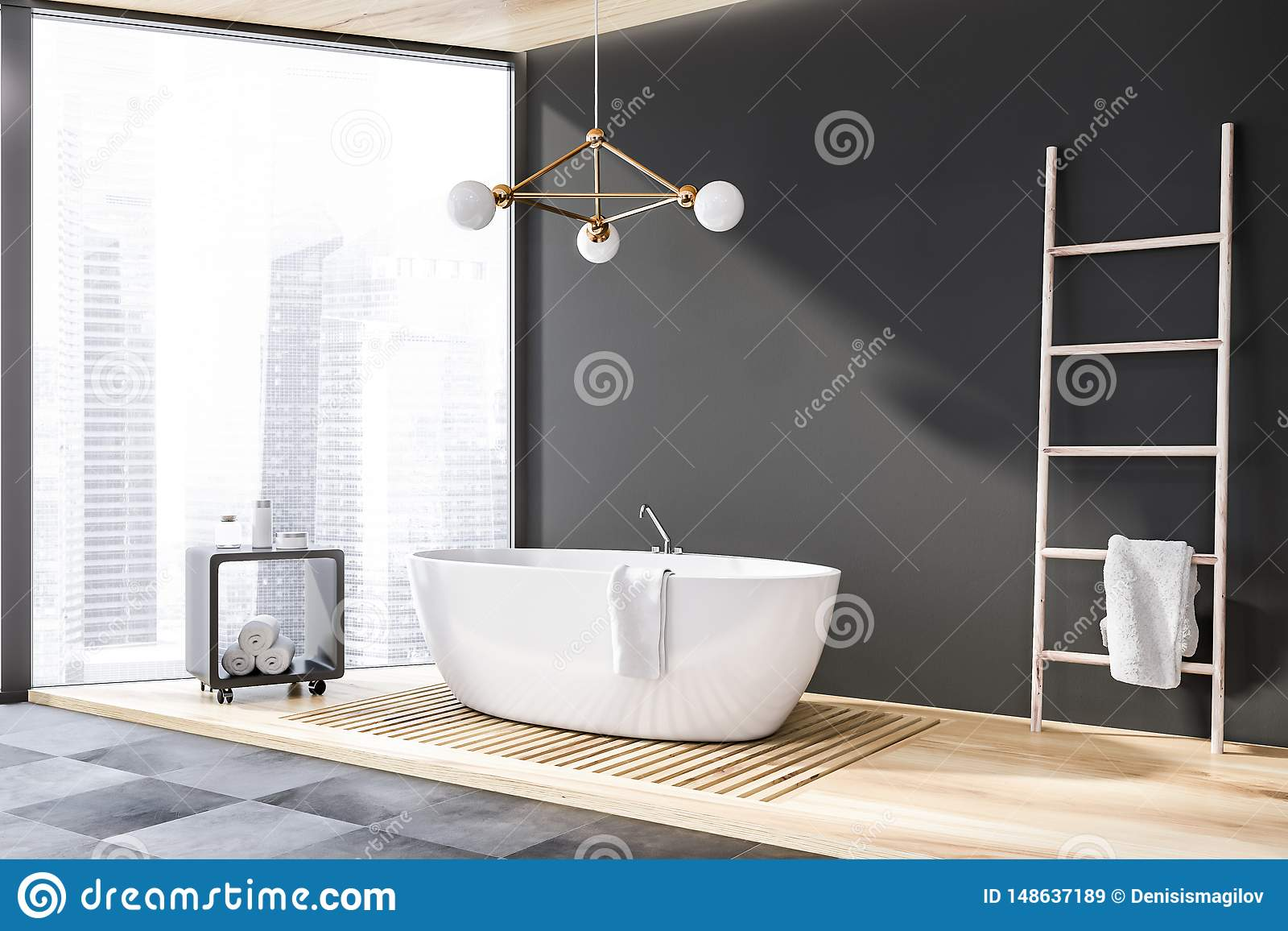 Gray Panoramic Bathroom Corner, Tub And Ladder Stock ...