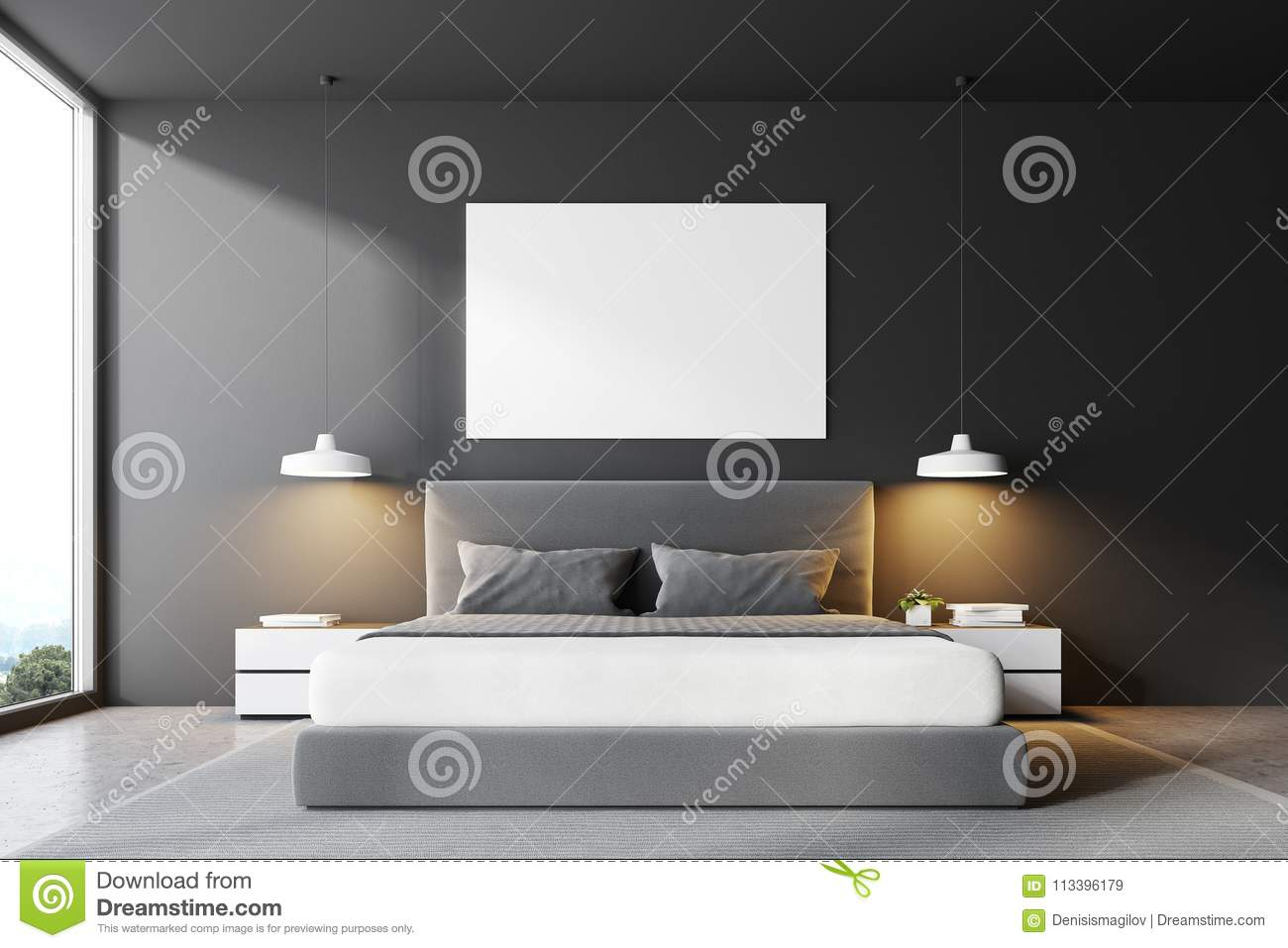 Gray Bedroom Bed Front View Poster Stock Illustration Illustration Of Indoors Mock 113396179