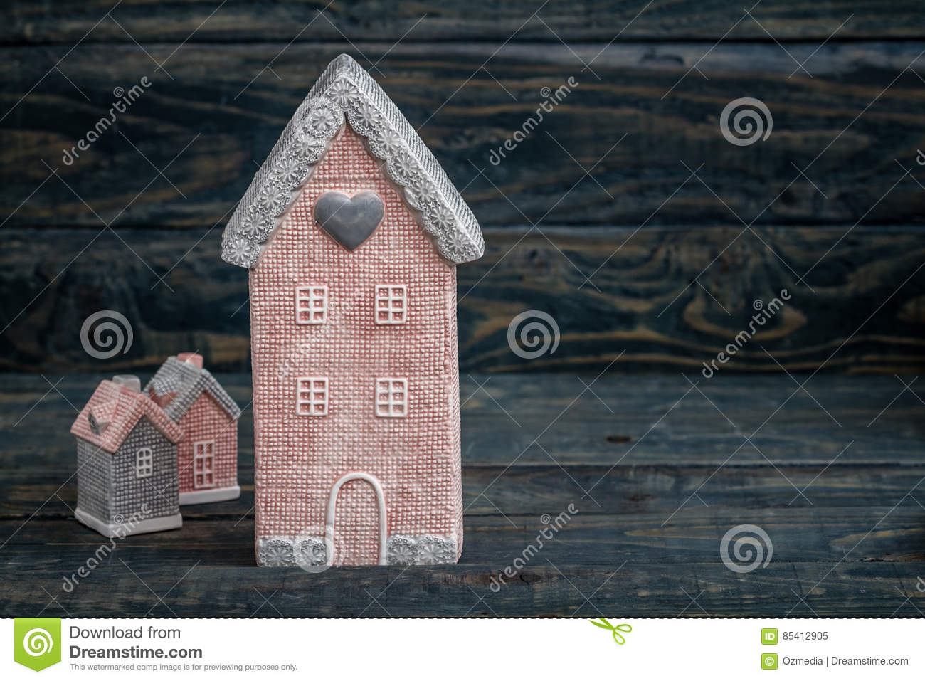 Gray and Pink Cute Decorative Houses with Copy Space