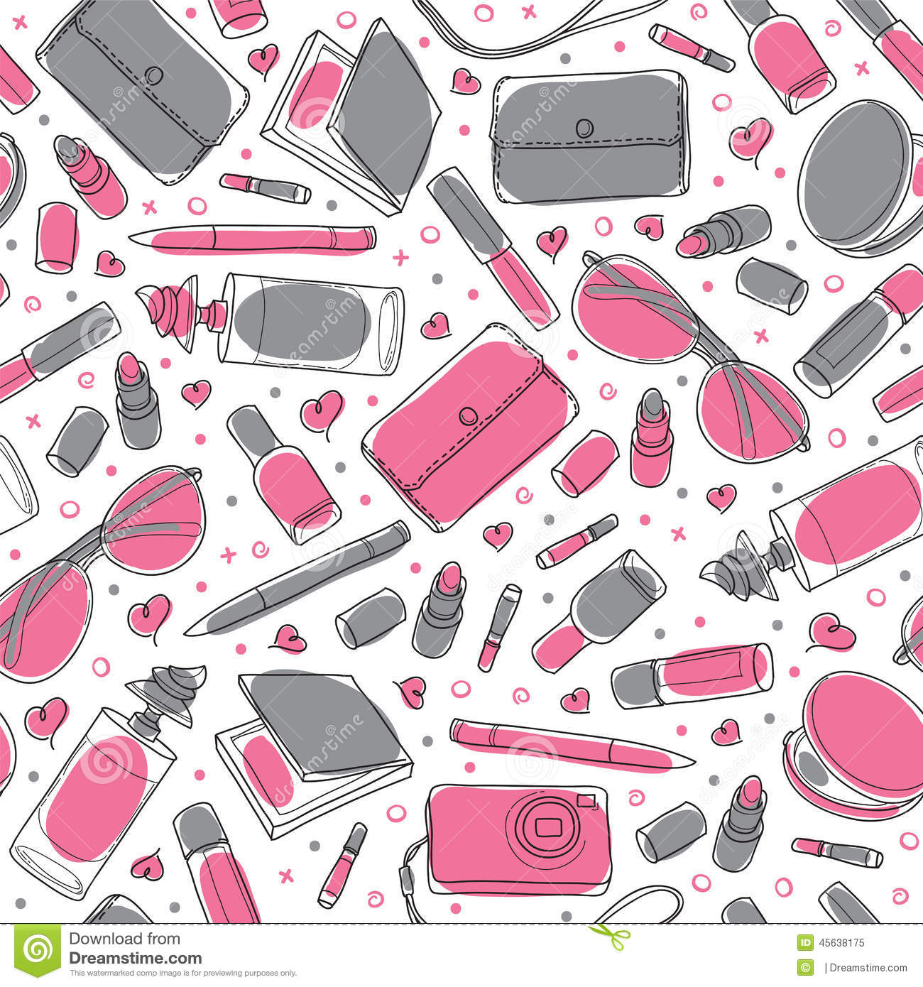 Gray And Pink Girl Stuff Vector Seamless Pattern Stock