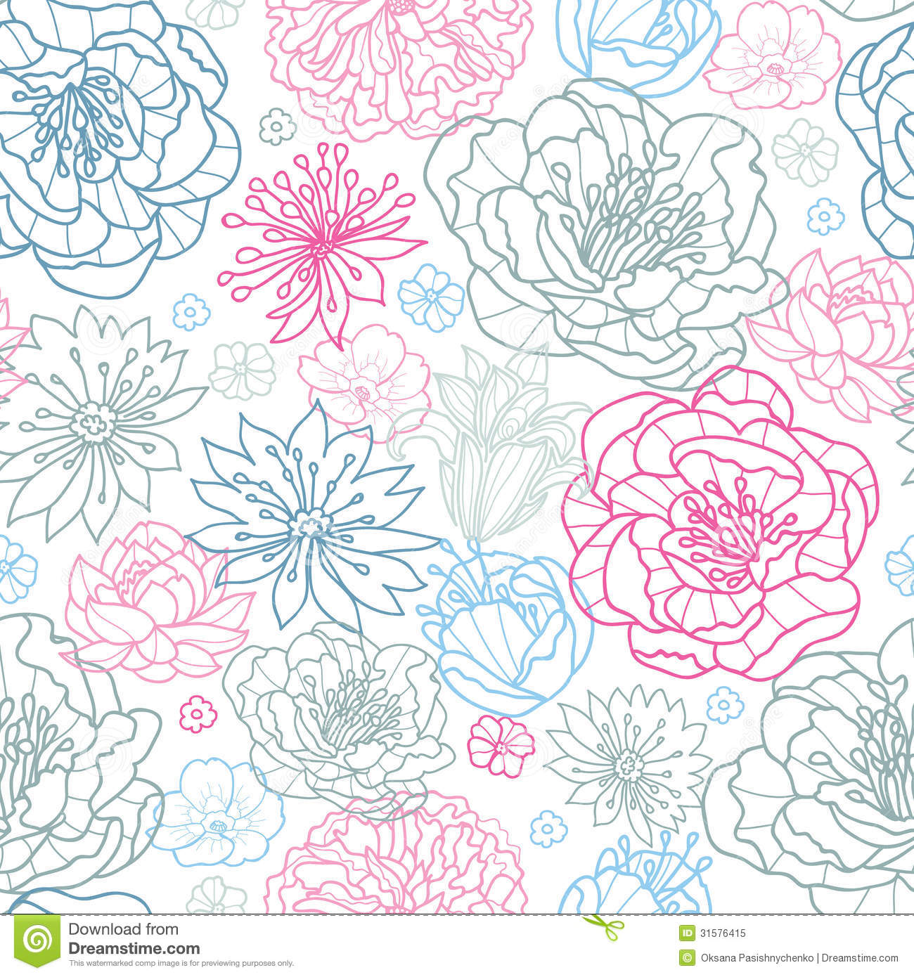 Gray And Pink Lineart Florals Seamless Pattern Background ...