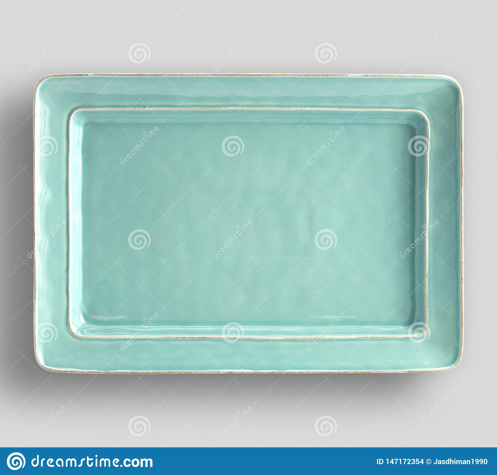 Gray plate on white background - Image