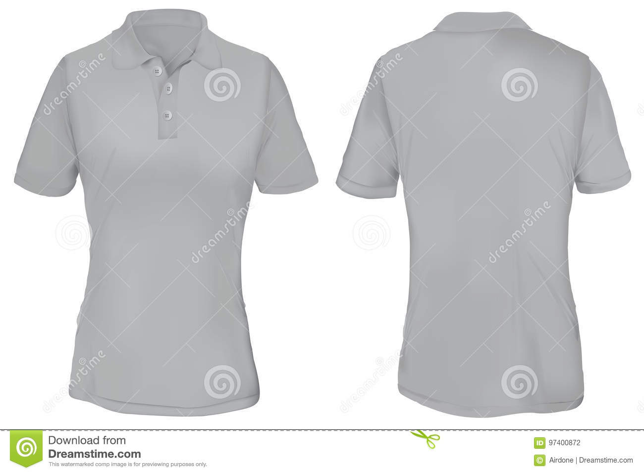 gray polo shirt template for woman stock vector image 97400872. Black Bedroom Furniture Sets. Home Design Ideas