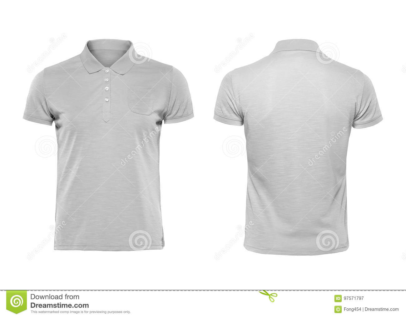 Gray Polo Tshirt Design Template Isolated On White Background Stock