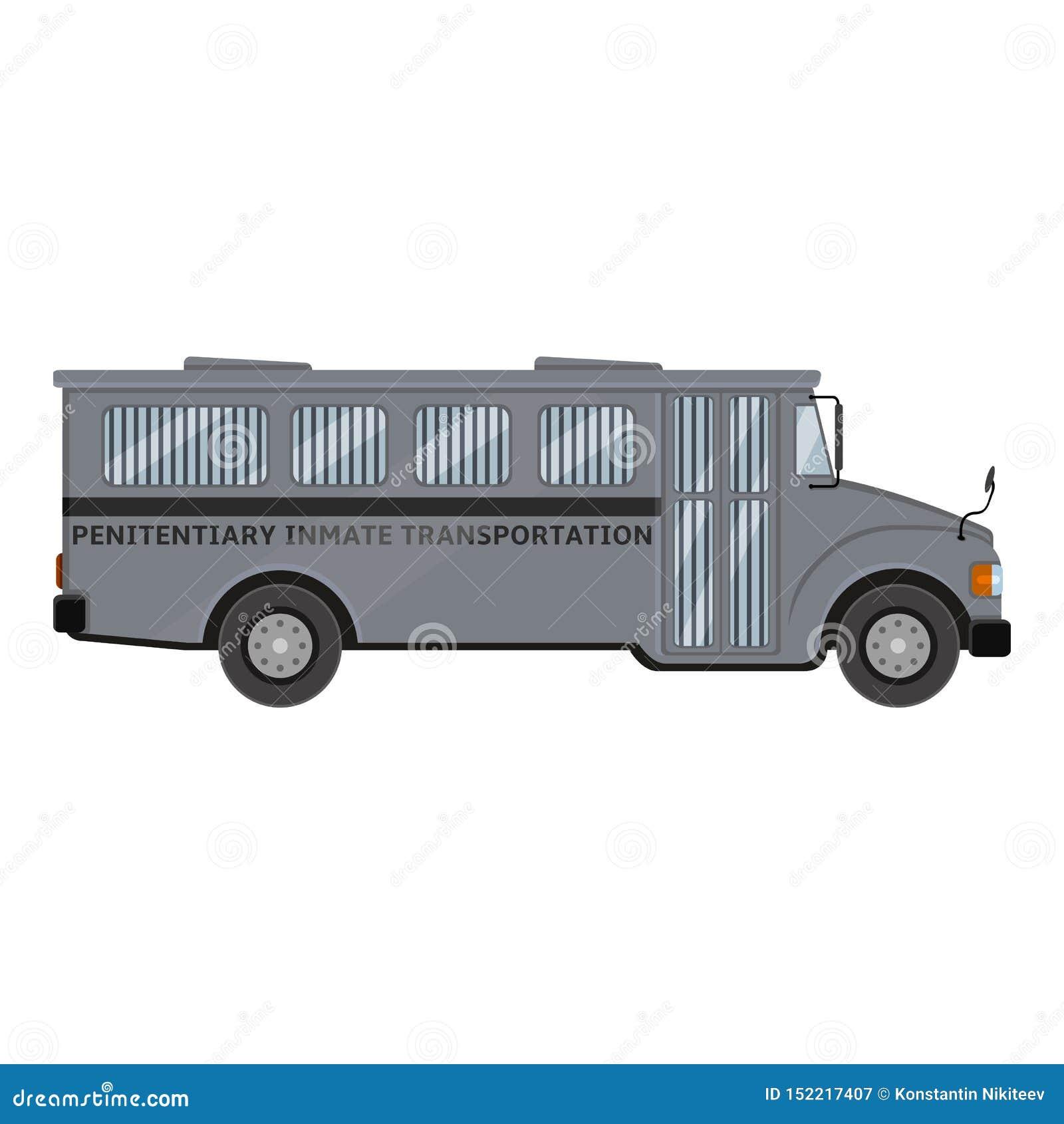 Gray Prison Bus Ejemplo de color plano del vector