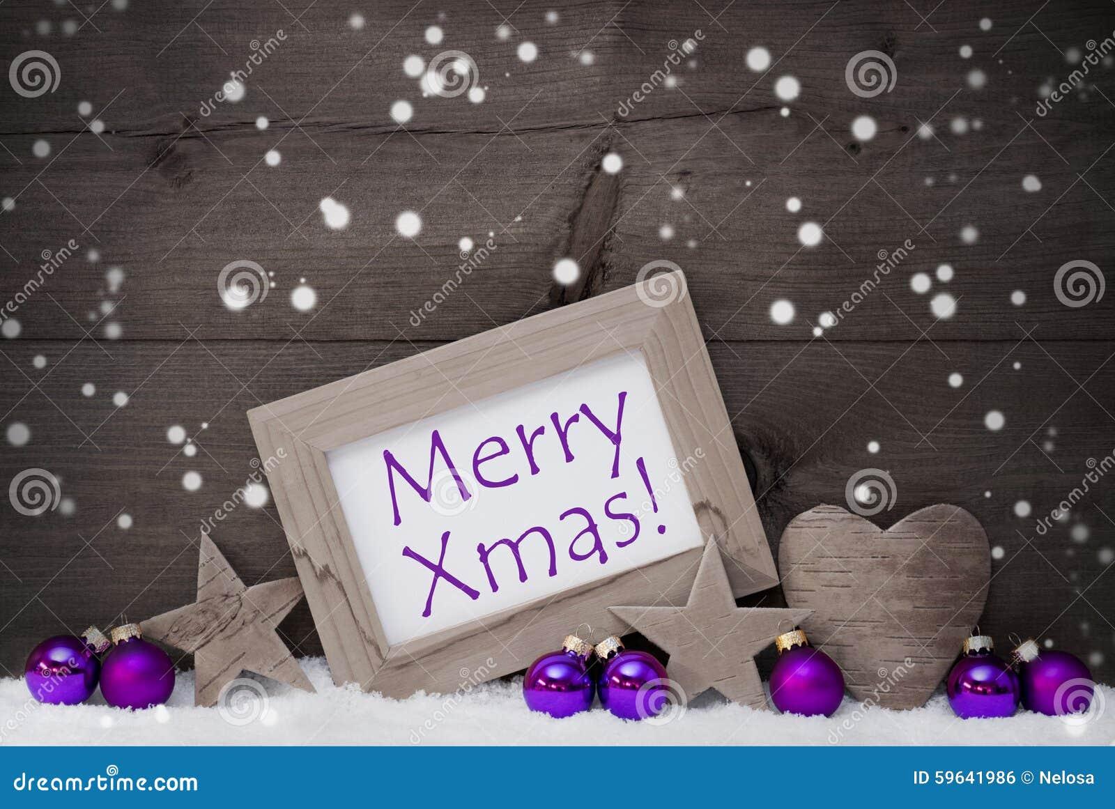 Gray Purple Christmas Decoration Text Merry Xmas, Snowflakes