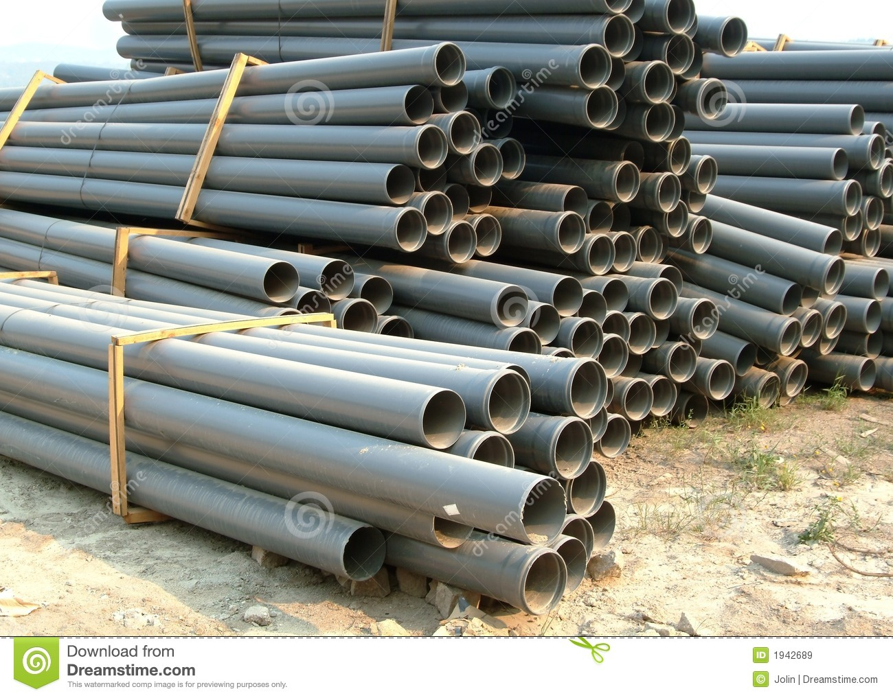 Gray PVC Pipes Stock Image. Image Of Piled, Construction
