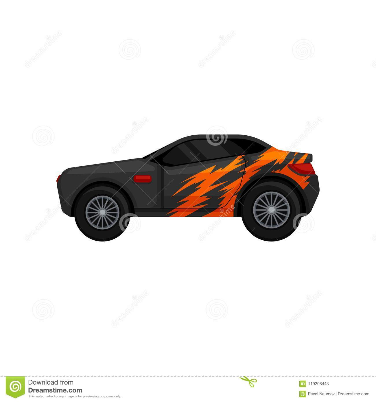 Gray racing car with black tinted windows and orange wrap decal. Automobile theme. Flat vector for mobile game, promo