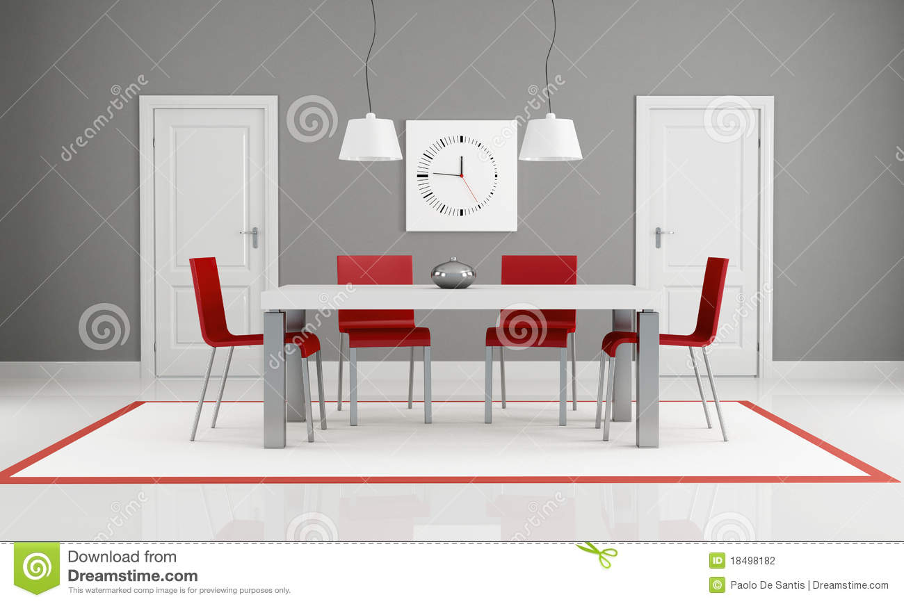 Gray And Red Dining Room Stock Photography Image 18498182
