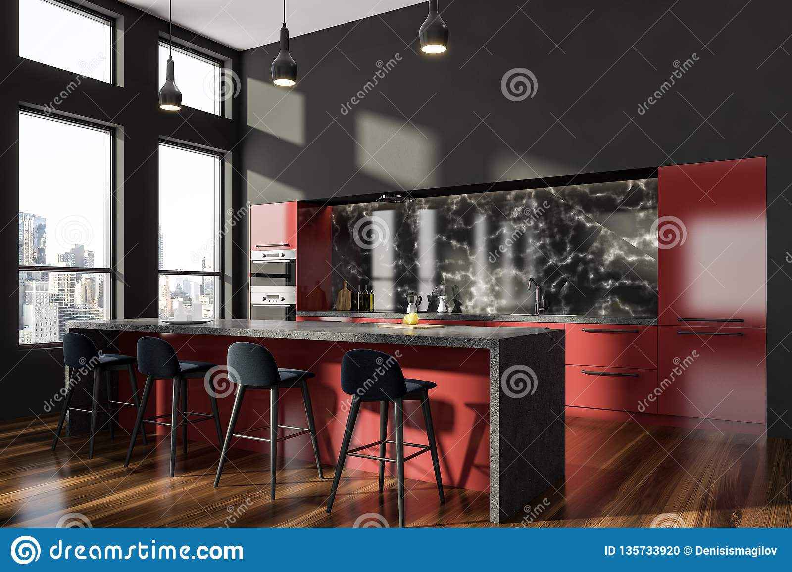 Gray And Red Kitchen Corner With Bar Stock Illustration Illustration Of Cooker Cabinet 135733920