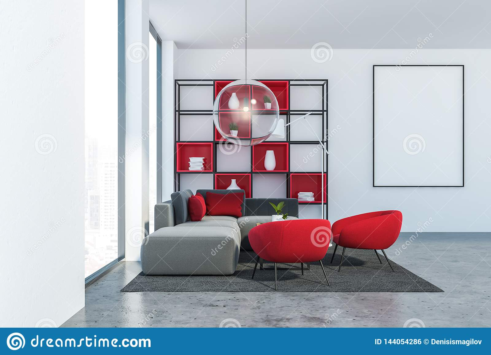 Gray And Red Loft Living Room With Poster Stock Illustration