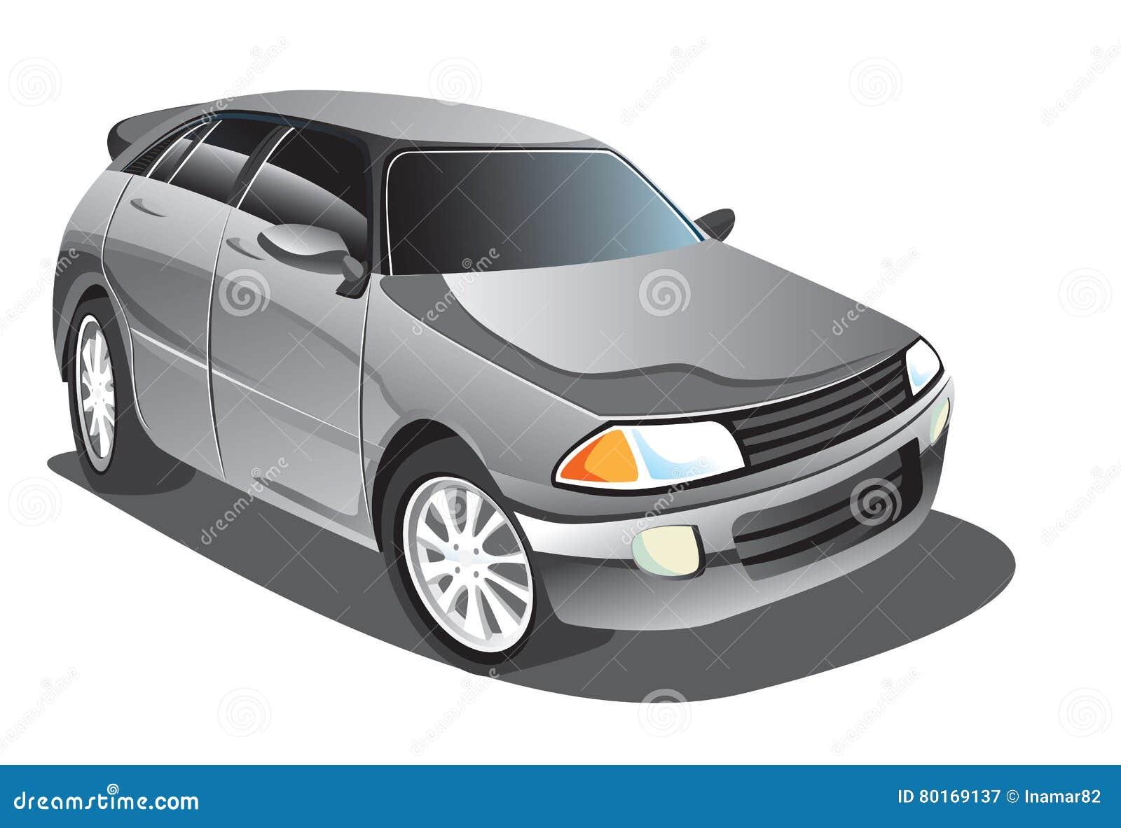 Gray Sedan Car Cartoon Stock Vector Illustration Of Model 80169137