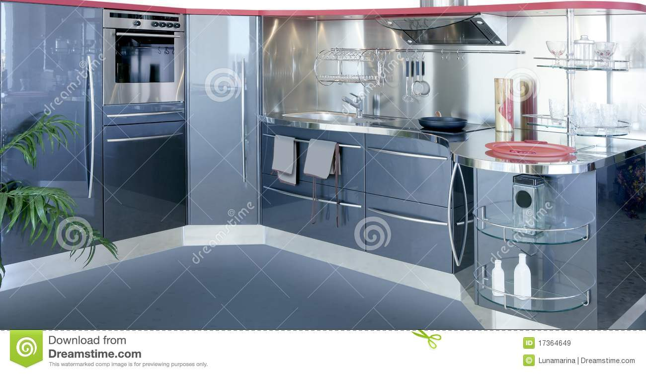 Gray Silver Kitchenw Modern Interior Design House Royalty Free ...