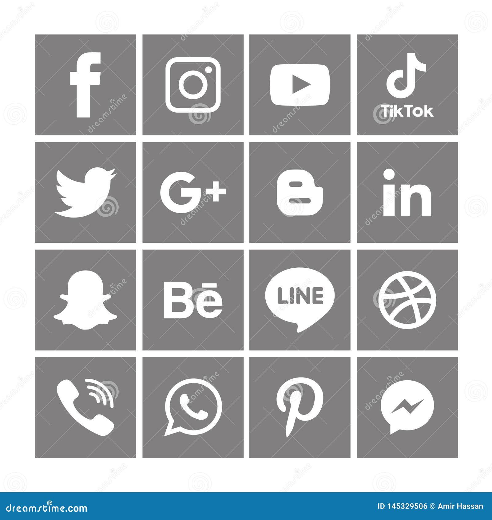 Gray Social-Medienikonen stellten Logo Vector Illustrator Background ein