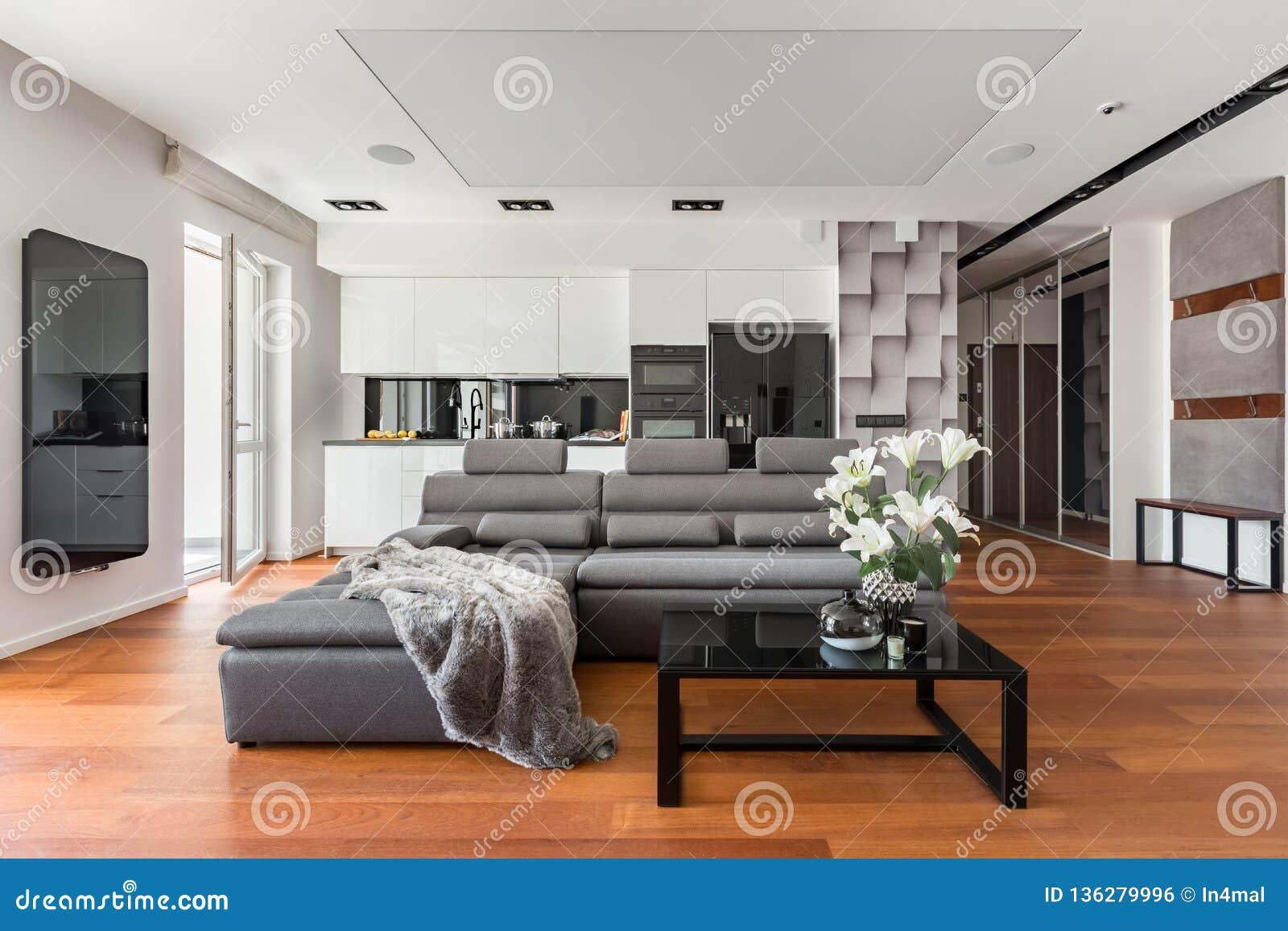 Gray sofa and coffee table stock photo. Image of black ...