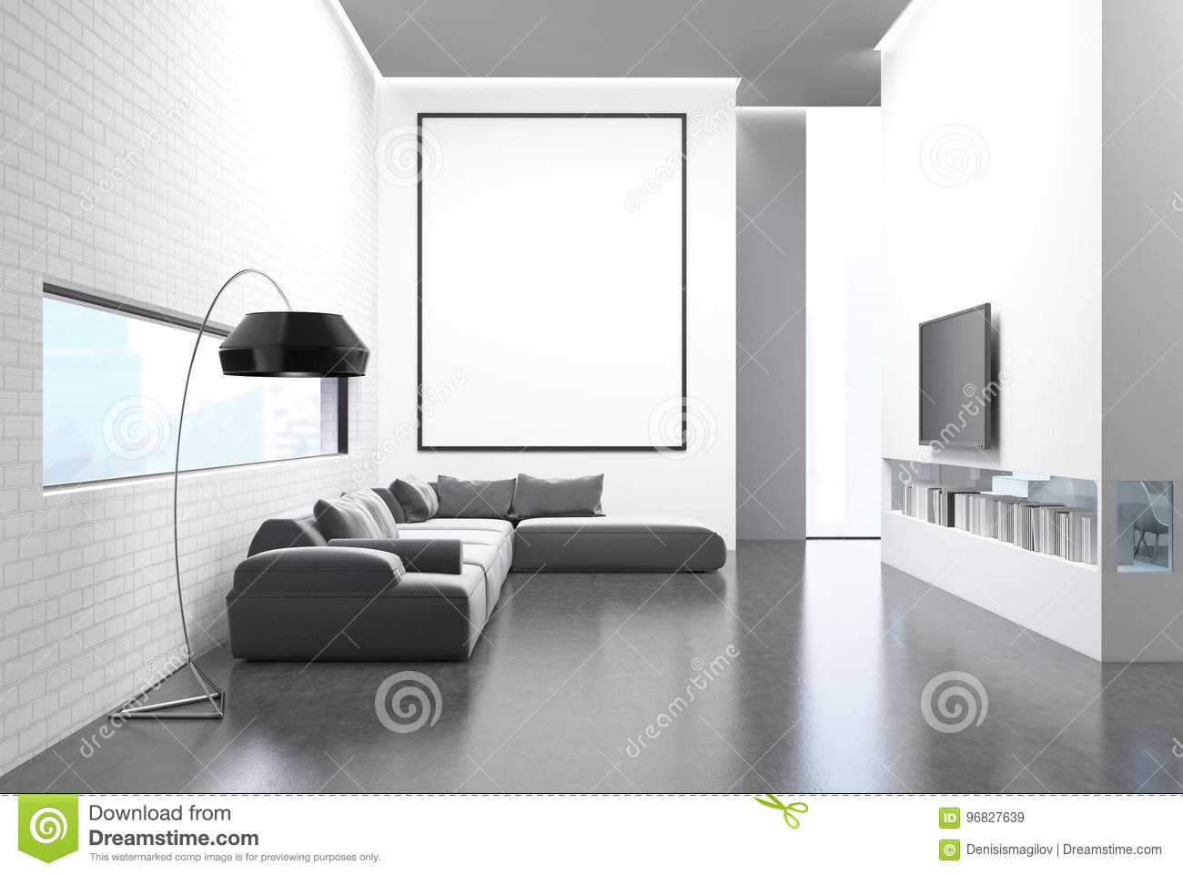 Gray Sofa Living Room, TV Set And Poster Stock Illustration ...