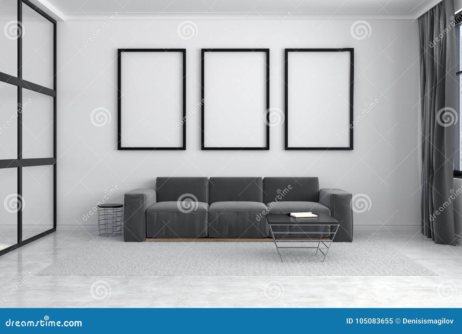 Gray sofa, poster gallery stock illustration. Illustration of ...