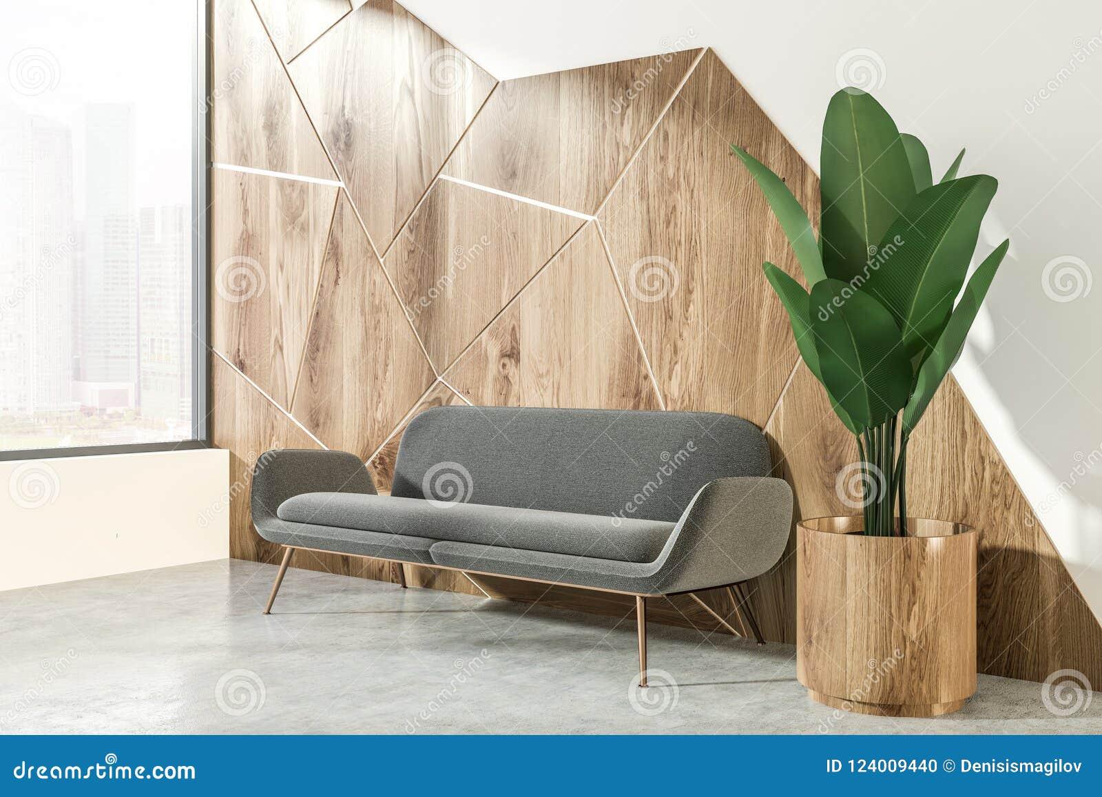 Gray Sofa In White And Wooden Living Room Corner Stock Illustration Illustration Of Copy Interior 124009440