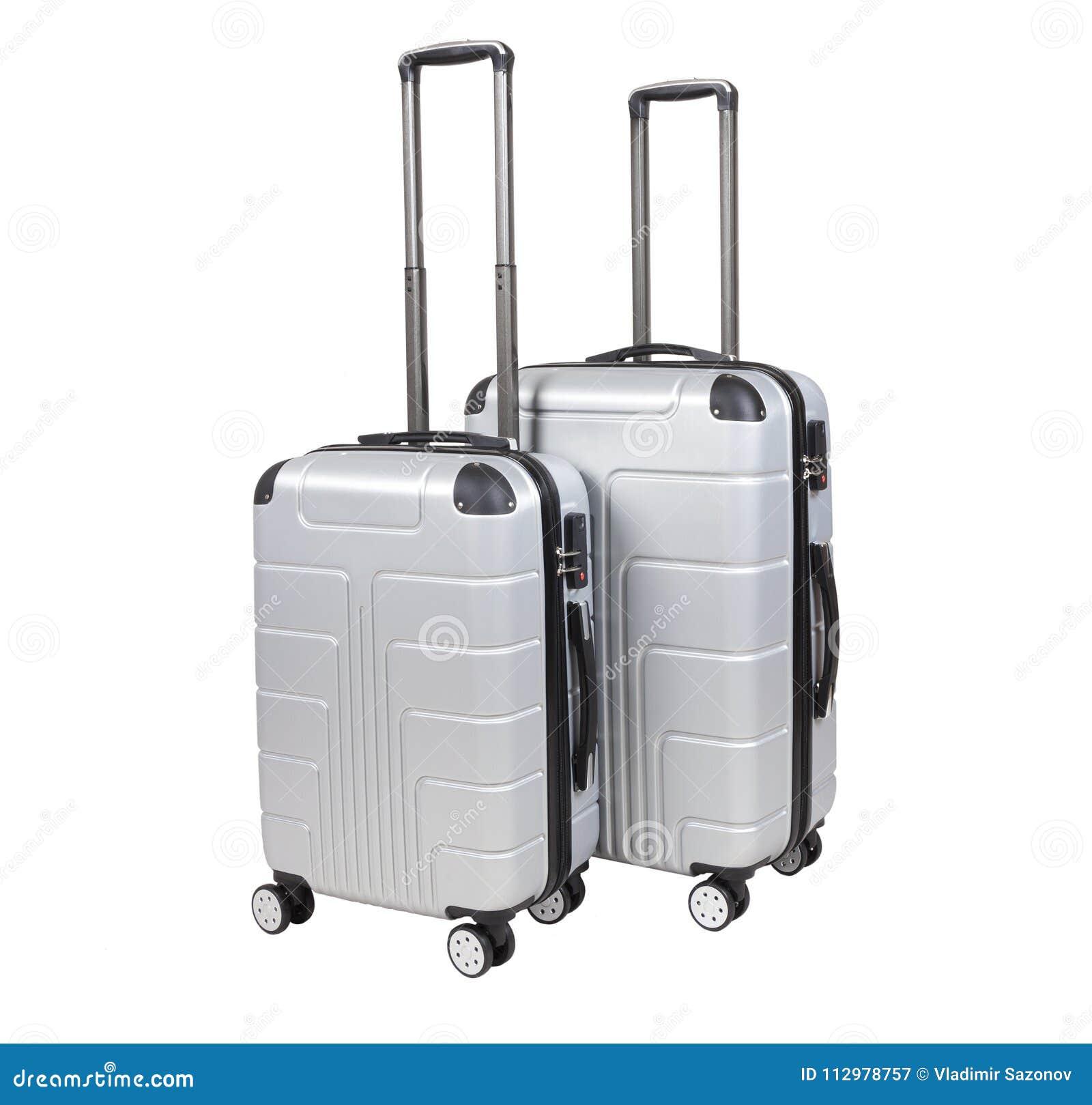Gray suitcase isolated on white background.
