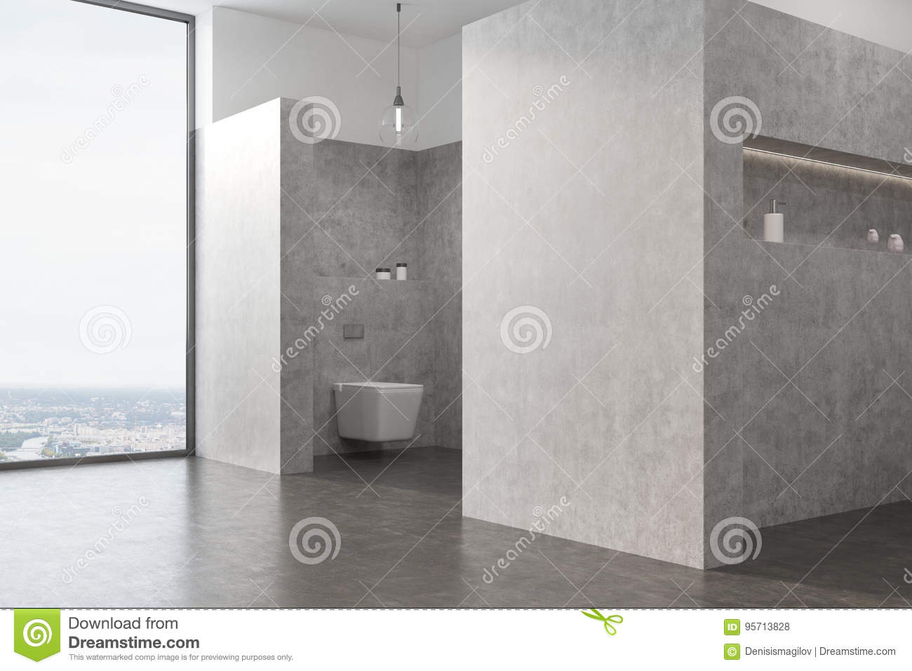 Gray toilet interior with a large window, thick walls with niches in them, a concrete floor and an original lamp. 3d rendering mock up