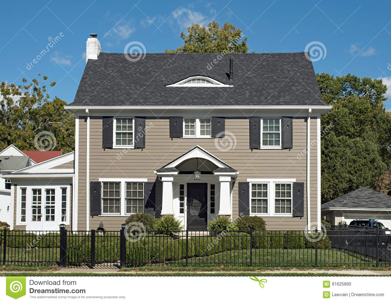 Gray Two Story House Stock Photo Image 61625890