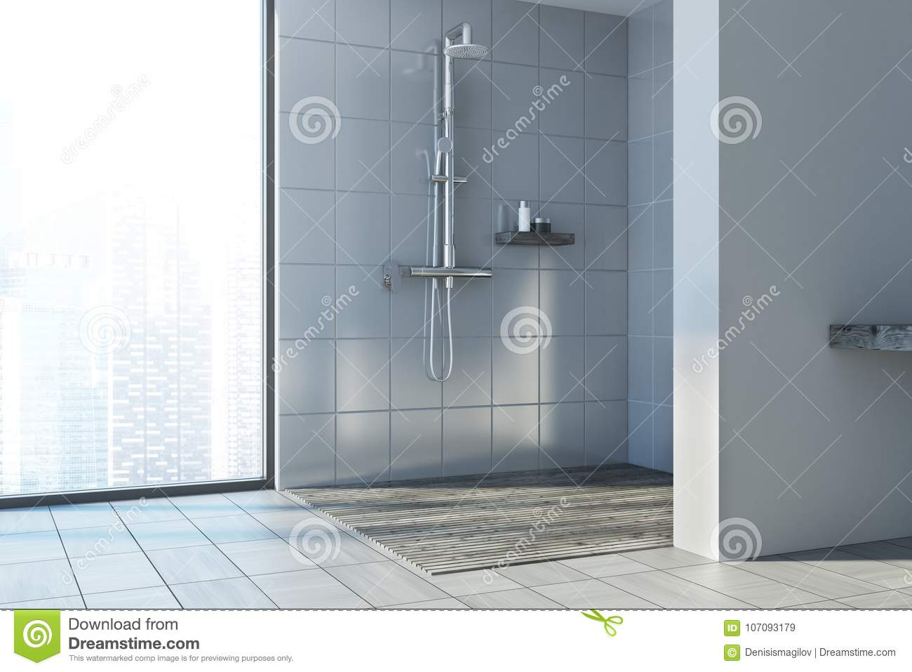 Gray Wall Bathroom, Shower Stall Stock Illustration - Illustration ...