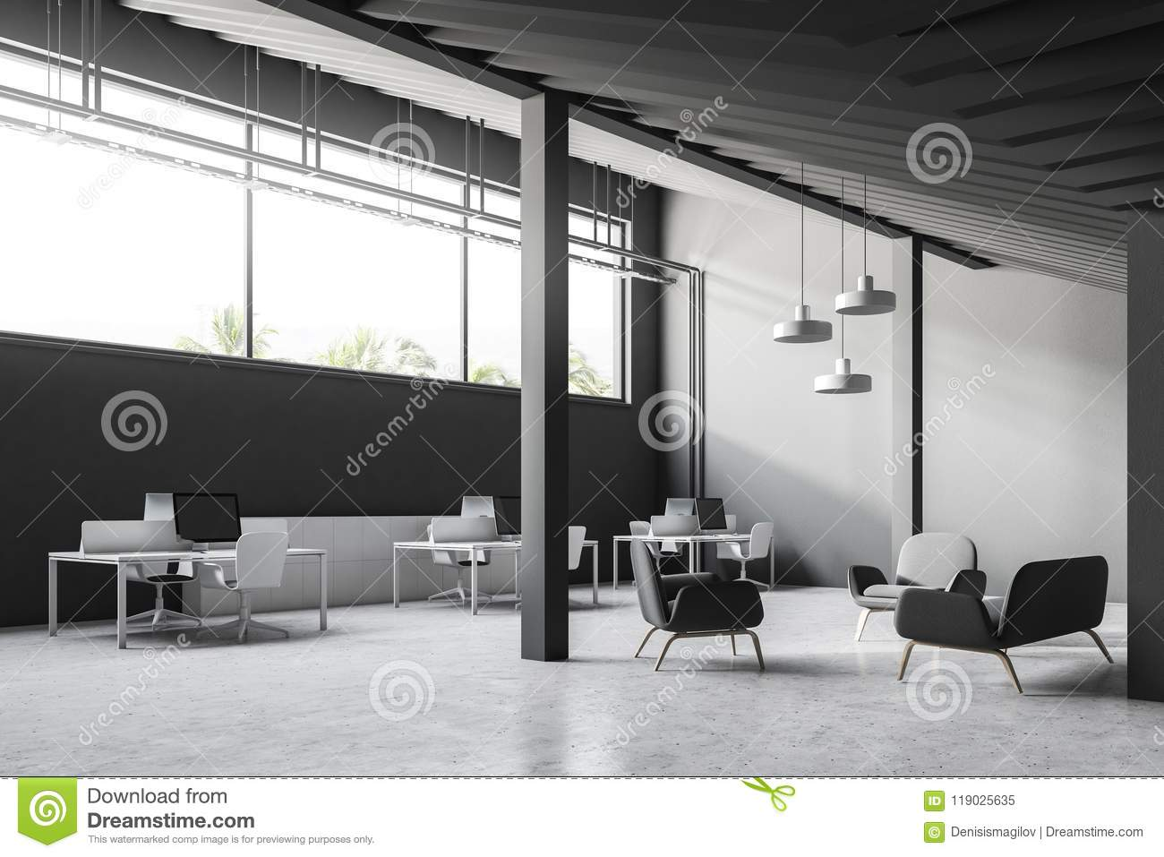 industrial style office. Gray Industrial Style Office Angle View, Columns G