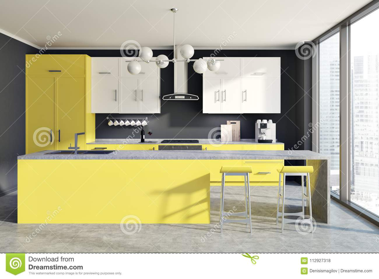 Gray wall kitchen interior with yellow and white counters and a bar with stools 3d rendering mock up