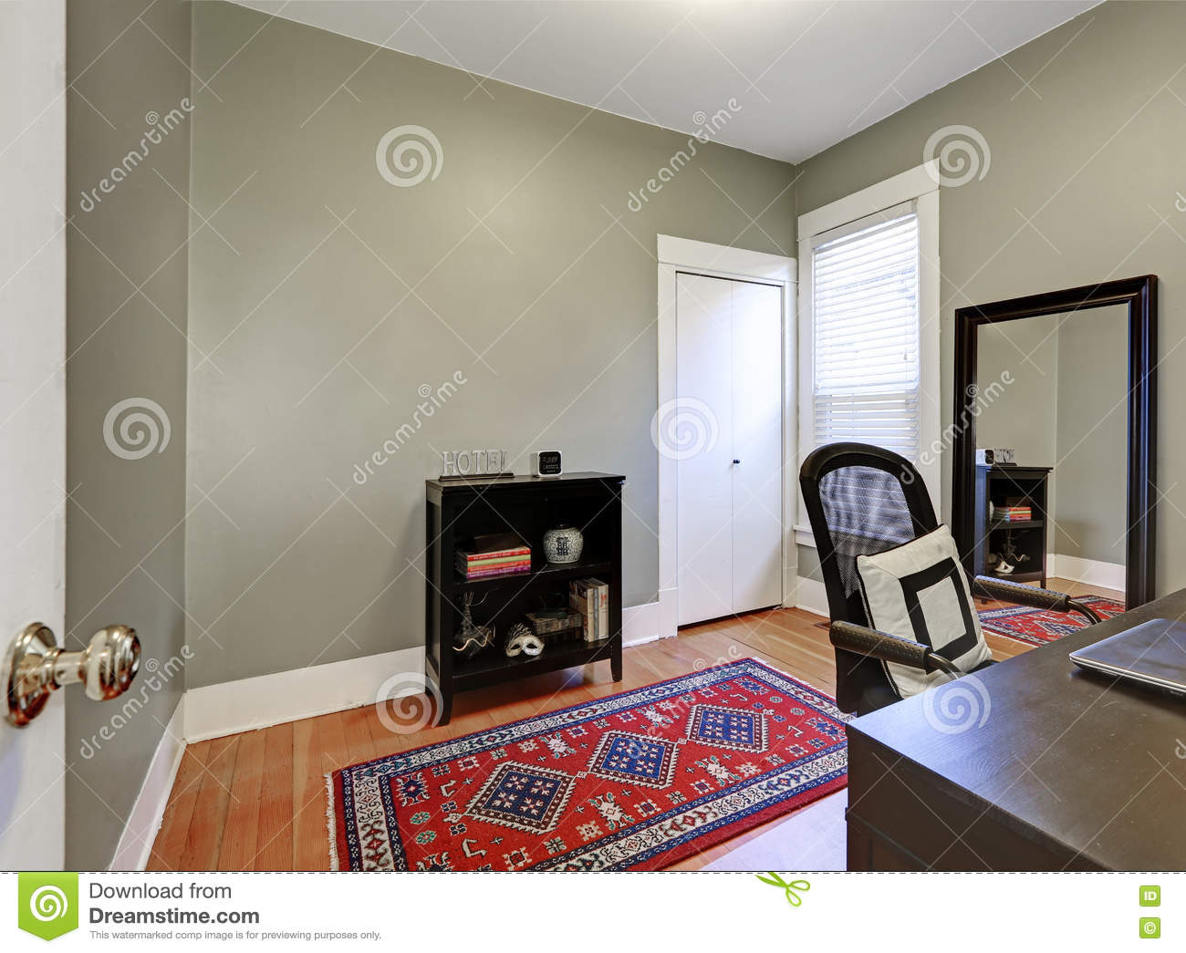 gray walls in home office interior of american house stock photo american floor home house interior