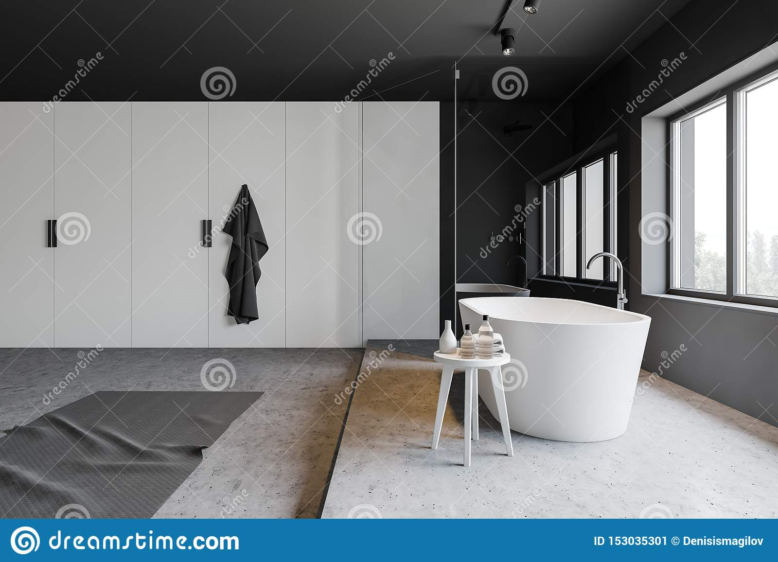 Gray And White Bathroom With Tub And Shower Stock Illustration Illustration Of Idea Indoor 153035301