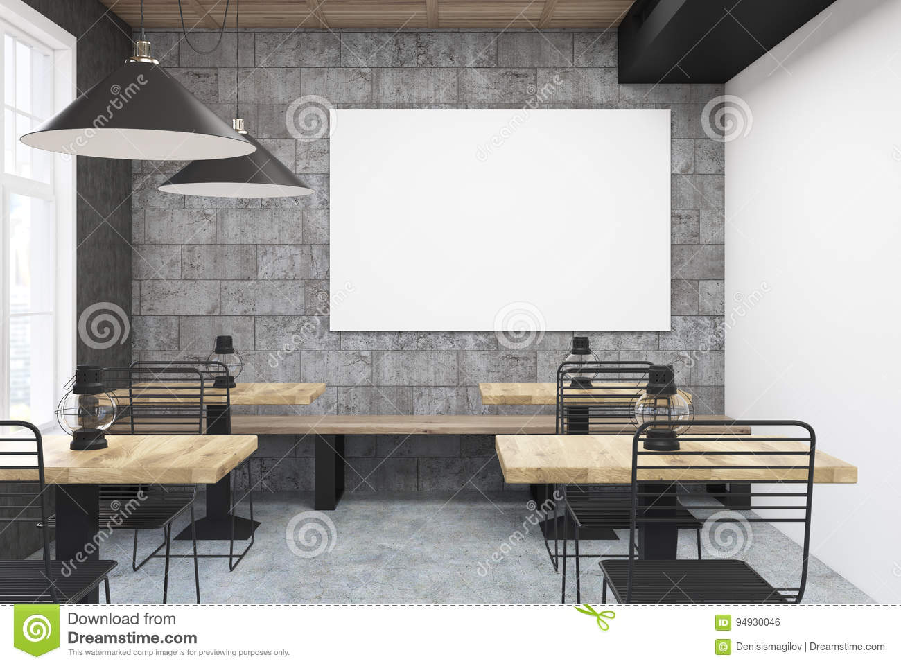 gray and white cafe interior poster - Large Cafe Interior