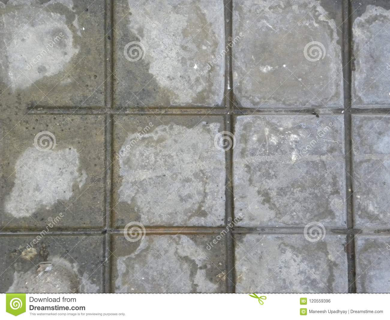 Gray And White Color Square Concrete Floor Tiles Background Stock