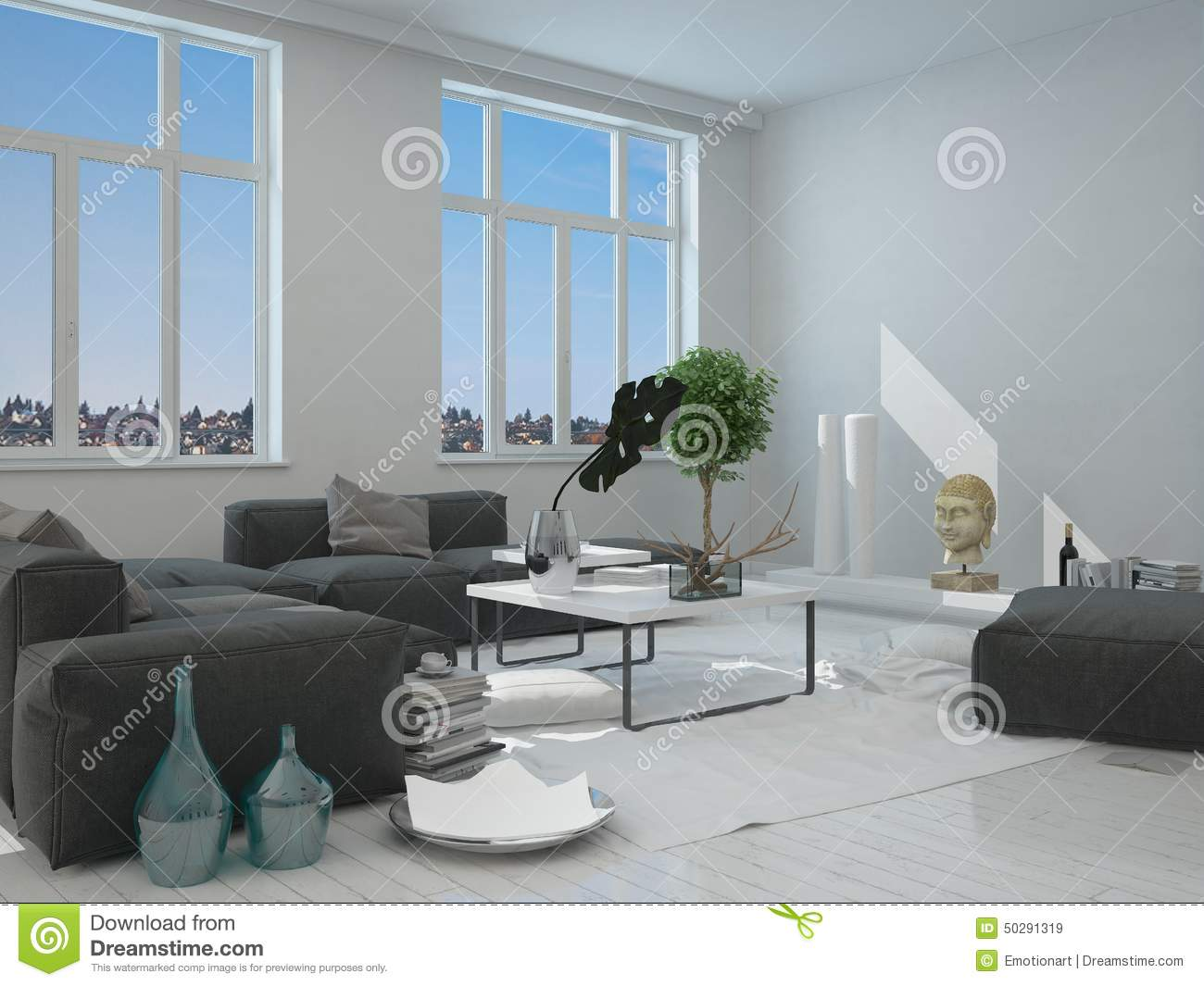 Gray and white furniture inside a house stock illustration for Gray and white living room furniture