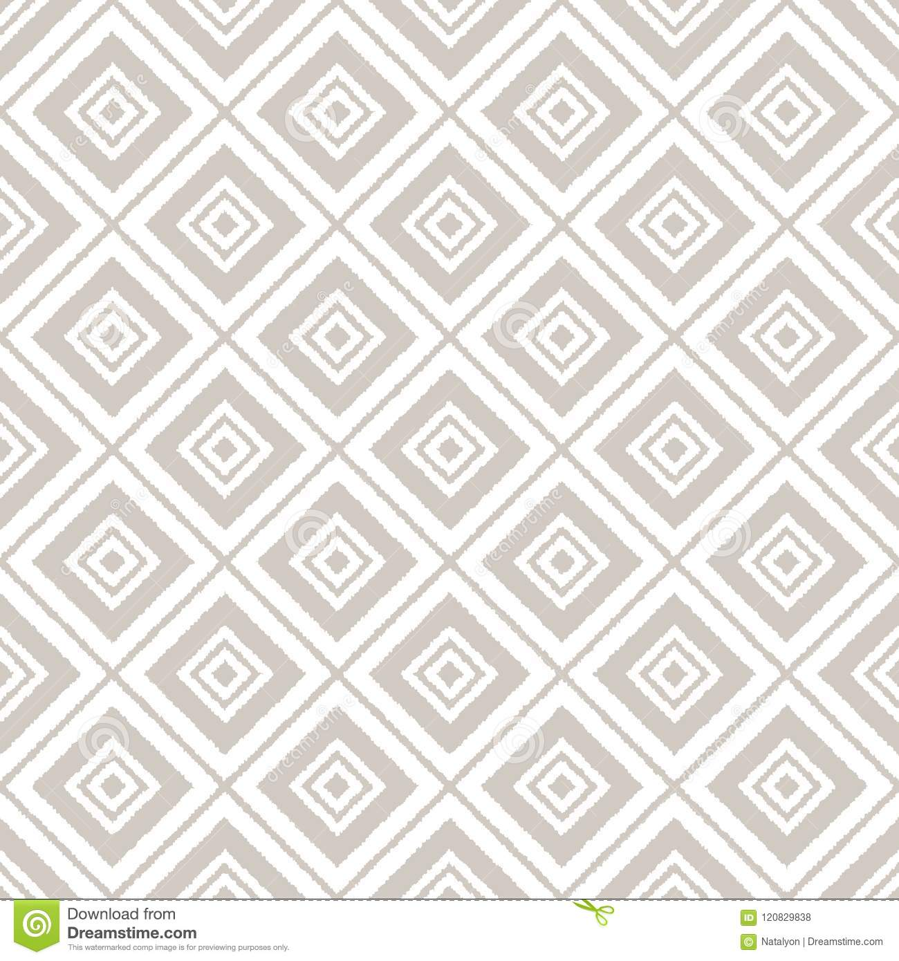 Gray and white ikat ornament geometric abstract fabric seamless pattern, vector