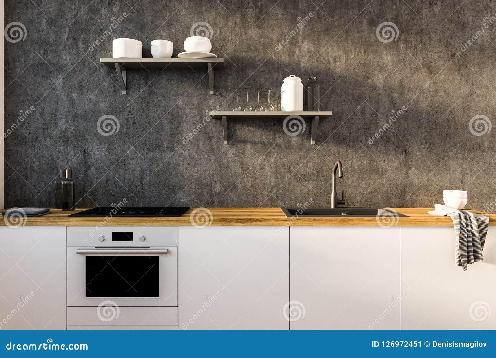 Concrete Kitchen Wall And White Countertops Stock ...