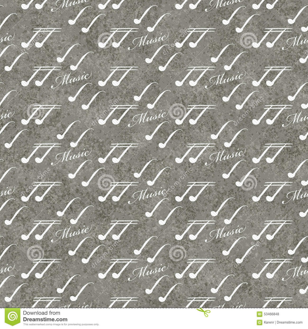 Gray And White Music Symbol Tile Pattern Repeat Background Stock
