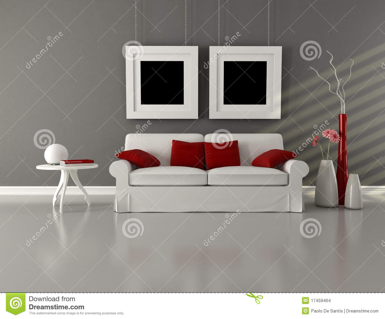 Gray White And Red Minimalist Living Room Stock Image