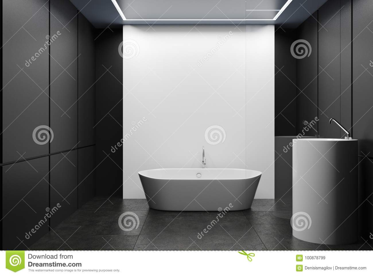 Gray And White Tiled Bathroom, Tub And Sink Stock Illustration ...