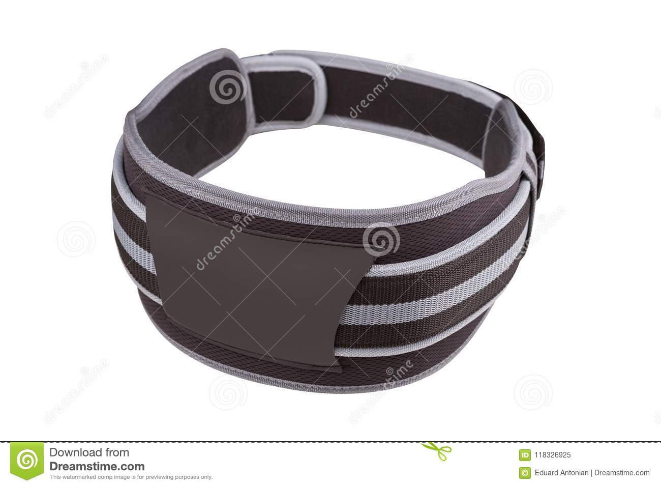 Gray wide belt for weight lifting and powerlifting, buttoned, on white background isolated