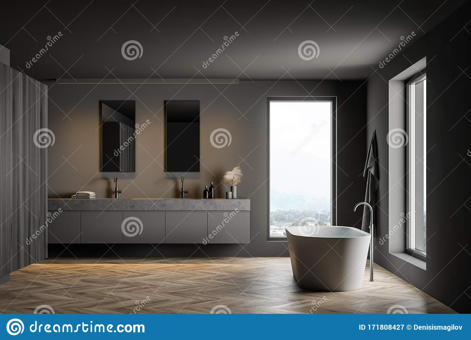 Gray And Wooden Bathroom With Cabinet Stock Illustration Illustration Of Bathroom Luxury 171808427