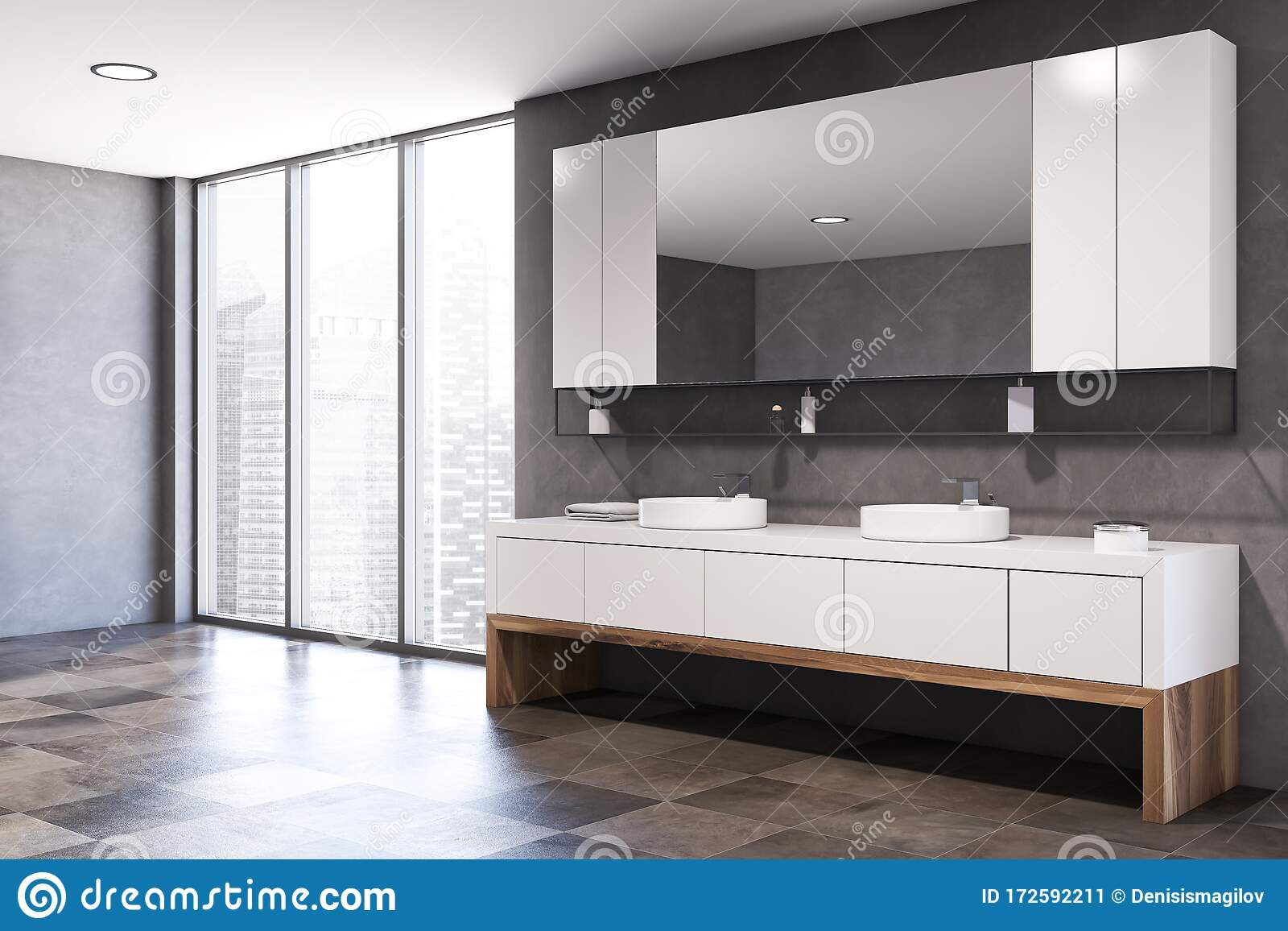 Gray And Wooden Bathroom Corner With Double Sink Stock Illustration Illustration Of Home Design 172592211