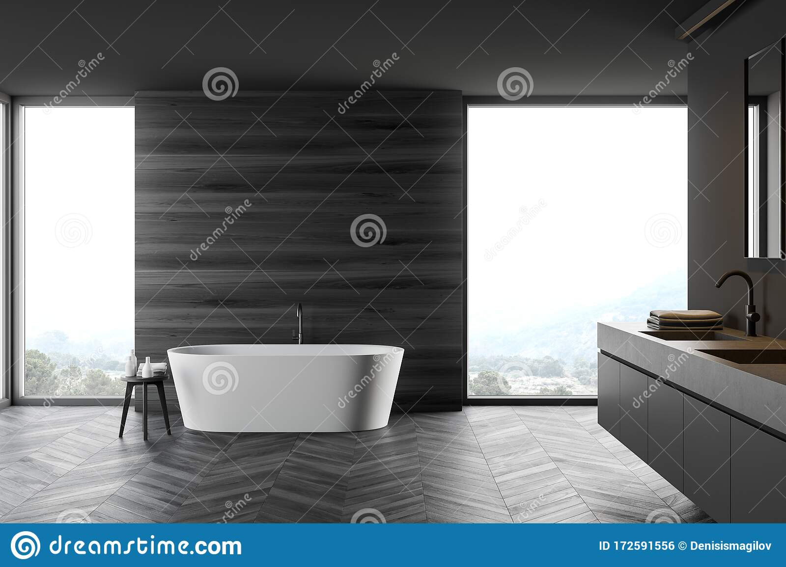 Gray And Wooden Bathroom With Tub And Sink Stock Illustration Illustration Of Home Grey 172591556